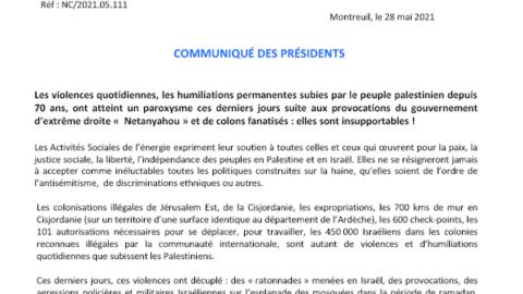 Communiqué des Présidents – Les Activités Sociales face aux dégâts en Palestine